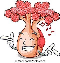 garrafa, árvores, música, planalto, escutar, mascote