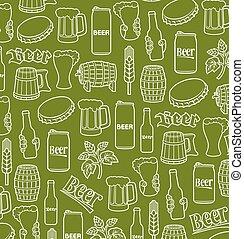 garrafa, ícones, madeira, padrão, fundo, boné, (hops, vidro cerveja, folha, mug), barril