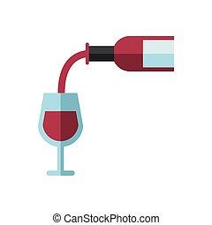 garrafa, bebida, vinho, copo