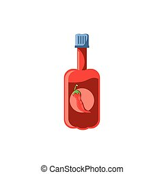 garrafa, branca, quentes, fundo, molho