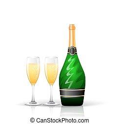 garrafa champanha, e, óculos