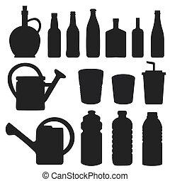 garrafa, cobrança, -, vetorial, silueta