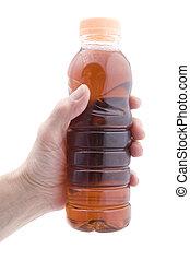 garrafa, com, mão, closeup