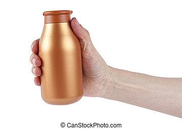 garrafa, com, shampoo, em, mão