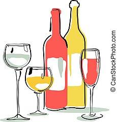 garrafa copo, silueta, vinho