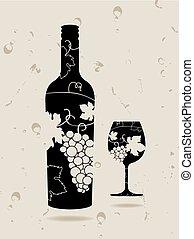 garrafa copo, uvas, vinho