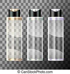 garrafa, cosmético, fundo, transparente