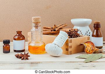 garrafa, de, óleo essencial, com, vara canela, anis, folhas, com, foco seletivo, ligado, antigas, madeira, fundo, .