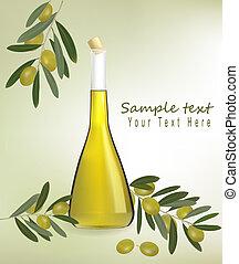 garrafa, de, azeite oliva, com, azeitonas