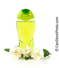 garrafa, de, líquido, sabonetes, com, jasmine, flores