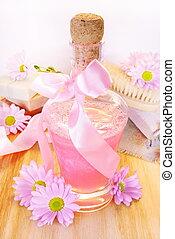 garrafa, de, shampoo, toiletries, e, flores