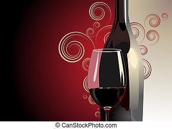 garrafa, e, vidro vinho vermelho