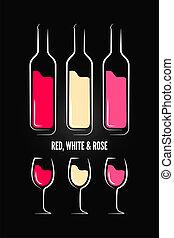 garrafa, etiqueta, vidro, desenho, fundo, vinho