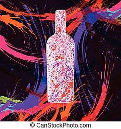 garrafa, ilustração, vinho