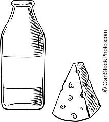 garrafa leite, e, pedaço, de, queijo, esboços