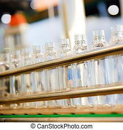 garrafa, ligado, a, transportador, linha, em, a, indústria