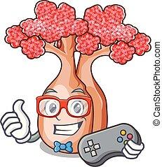 garrafa, mascote, planalto, árvores, gamer