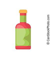 garrafa, molho, fundo, branca, quentes