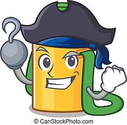 garrafa, pirata, água, caricatura, chapéu, mão, crianças, estilo, scroll, um