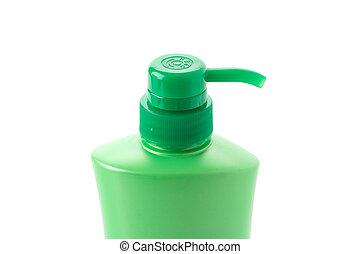 garrafa plástico, com, líquido, sabonetes