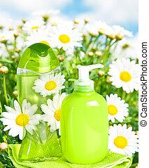 garrafa plástico, com, líquido, sabonetes, ligado, natureza,...