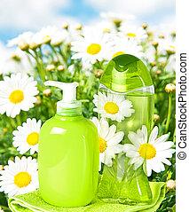 garrafa plástico, com, líquido, sabonetes, ligado, natureza, fundo