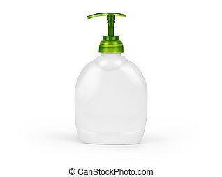 garrafa plástico, com, líquido, sabonetes, ligado, um, fundo branco