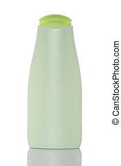 garrafa plástico, com, sabonetes, ou, shampoo