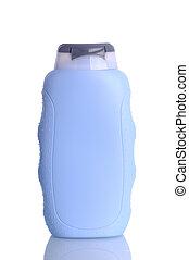 garrafa plástico, com, shampoo, sem, etiqueta