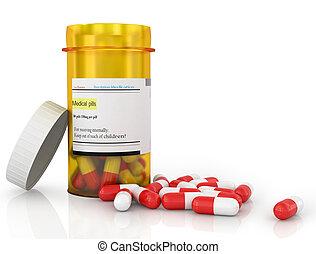 garrafa, saída, pílulas, derramando, pílula