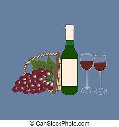 garrafa, uvas, vinho