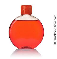 garrafa vermelha, cheio, vista dianteira, sabonetes, redondo, líquido, transparente