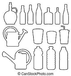 garrafa, vidro, copo, cobrança, linha