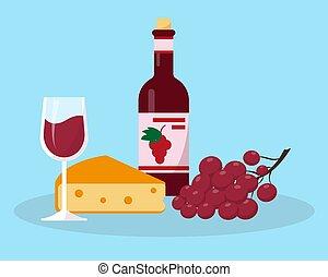 garrafa, vidro, vinho, uvas, queijo