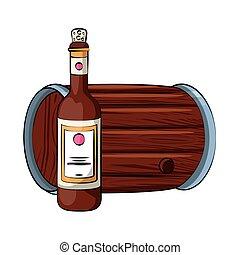 garrafa vinho, barril, bebida