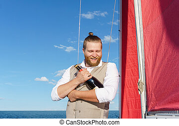 garrafa vinho, cintilante, yachtsman