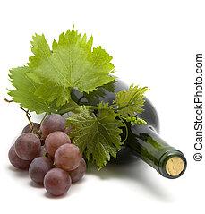 garrafa vinho, com, vinho uva, folheia, e, videira