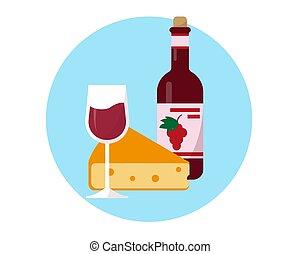 garrafa, vinho, icon., vidro, queijo