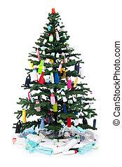 garrafas, árvore, plástico, decorando, desperdício, natal