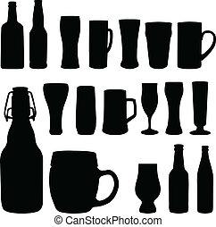 garrafas cerveja, e, óculos