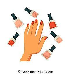 garrafas, clássicas, mão, cores, femininas, vermelho