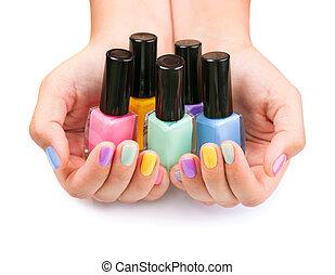garrafas, colorido, prego, polish., mãos, polaco, manicure.