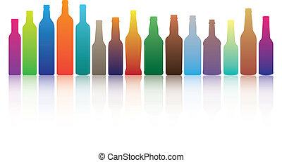 garrafas, coloridos