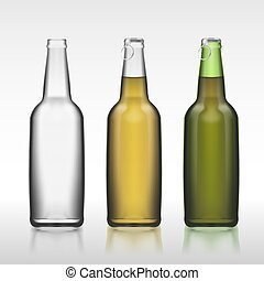 garrafas copo, realístico, 3d, jogo, isolado, branco, fundo