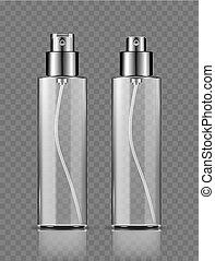 garrafas, cosmético, isolado, pulverizador, fundo, transparente