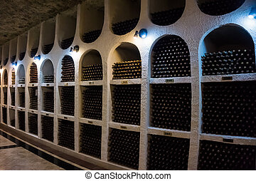 garrafas, de, alto, qualidade, vinho, em, a, tradicional,...