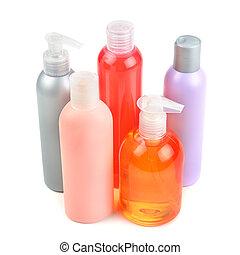 garrafas, distribuidores, shampoo, isolado, fundo, branca,...