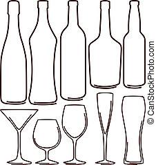 garrafas, e, óculos, jogo