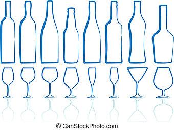 garrafas, e, óculos