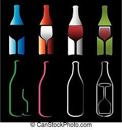 garrafas, e, glasses-, espíritos
